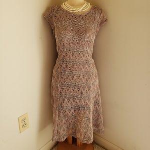 SHARAGANO MOCHA LATTE CROCHET DRESS